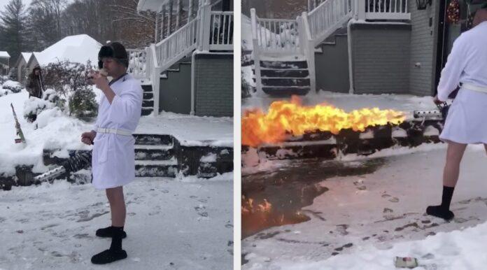 Fjerne sne med flammekaster