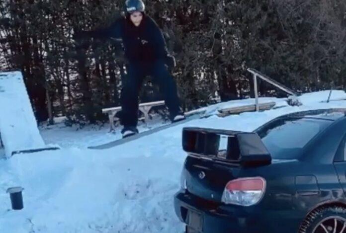 Snowboard vs. Subaru