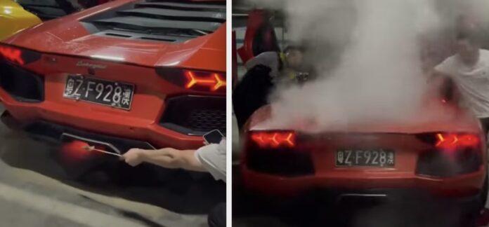 Lamborghini som grill - bryder i brand