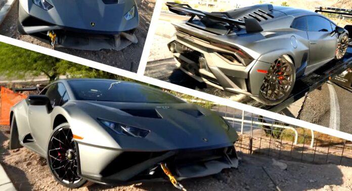 Et eksemplar af den lynhurtige Lamborghini Huracan STO - der kørte som udlejningsbil i USA - er allerede smadret