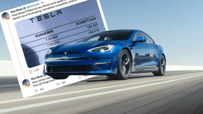 I et tweet hævder Tesla-chef Elon Musk, at en Model S Plaid nu lige har sat omgangrekord på på Nürburgring for en 'elbil i produktion' .